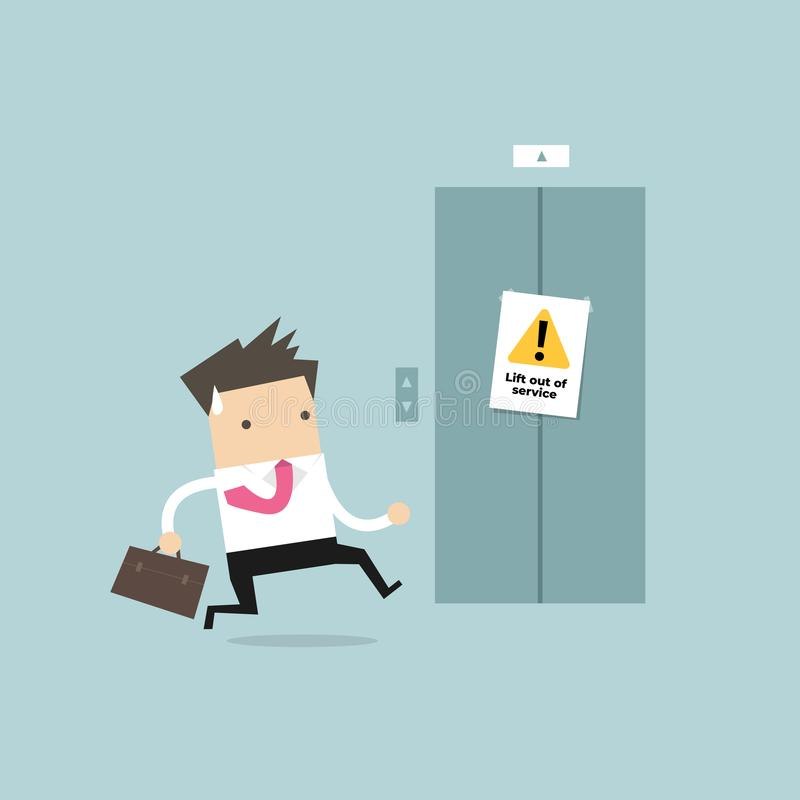 Businessman are running to the elevator. But the elevator is out of service. stock illustration