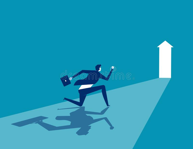 Businessman running to goal, Concept business vector illustration, Flat business cartoon, Character style design, Running, Rear. View royalty free illustration