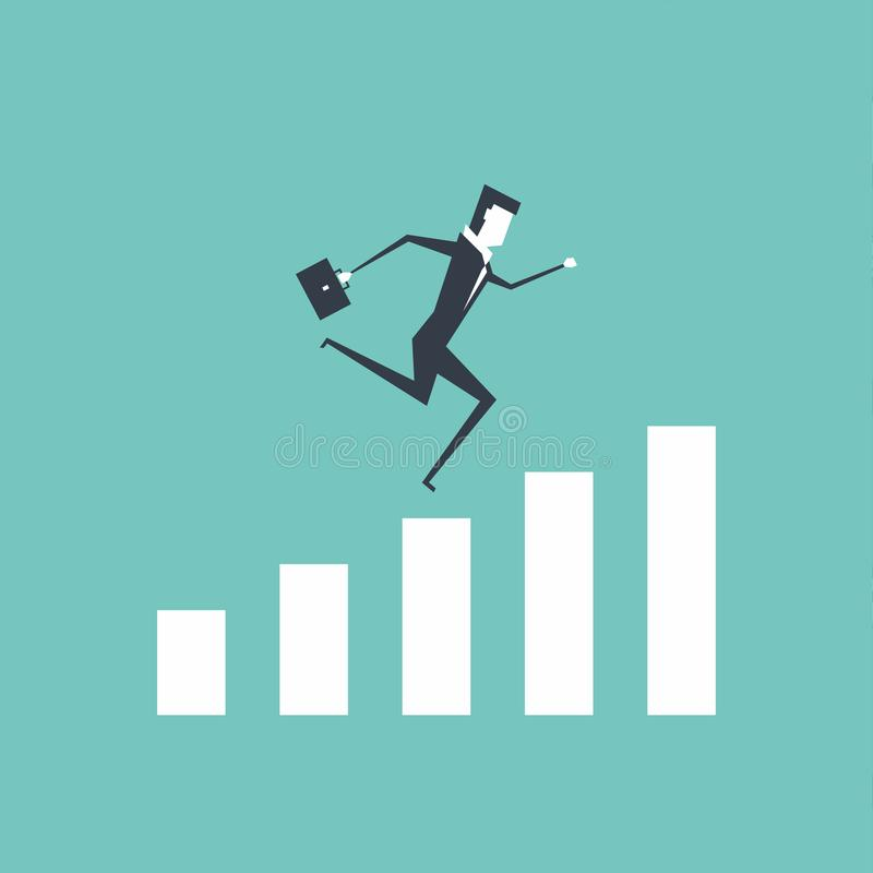 Businessman running to the top of the graph. royalty free illustration