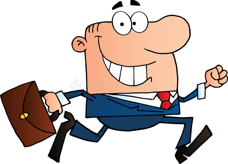 Businessman running to work with briefcase royalty free illustration