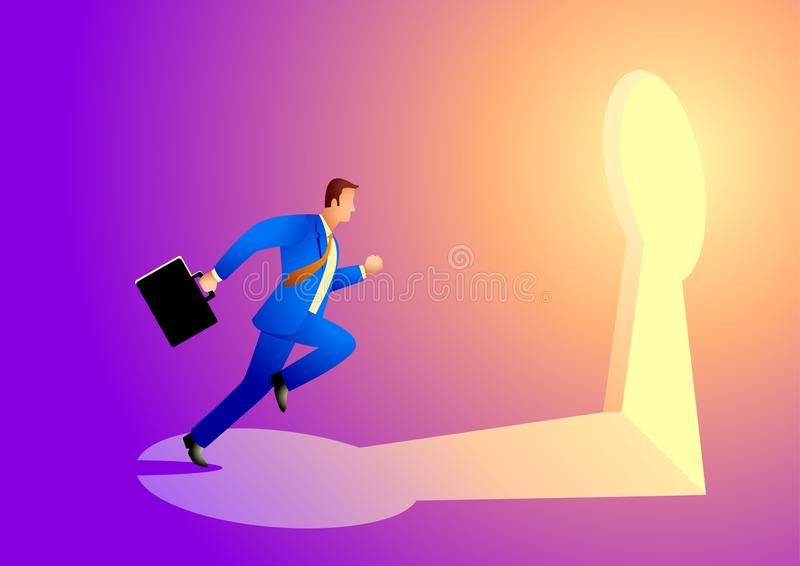 Businessman running towards a key hole. Business concept vector illustration of a businessman running towards a key hole. Business, chance, opportunity, success vector illustration