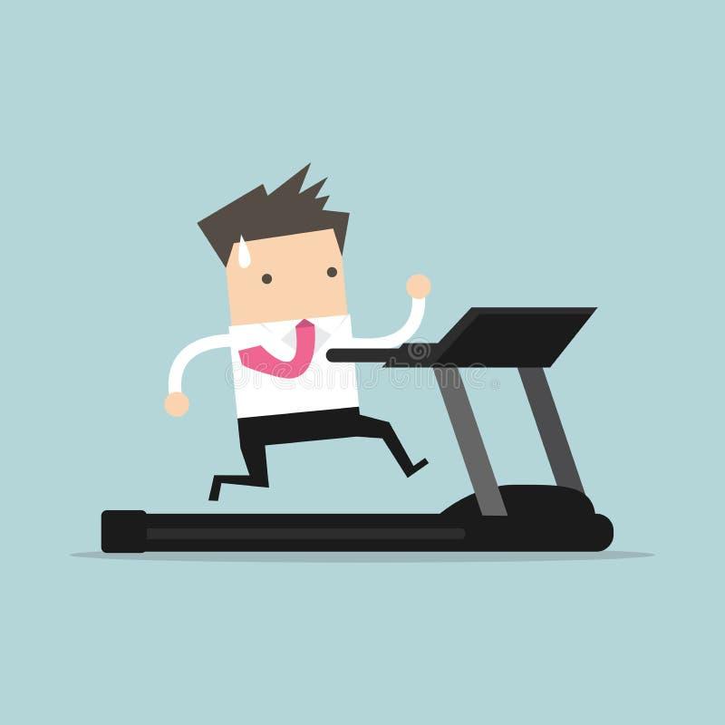 Businessman running on treadmill. Vector illustration stock illustration