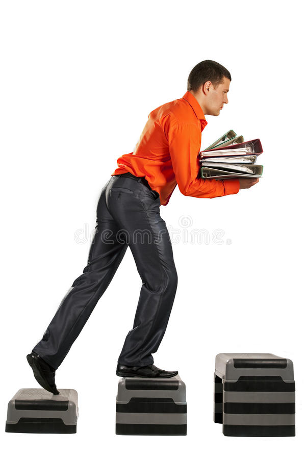 Download Businessman Running Up With Folder Documents Stock Image - Image: 16757411