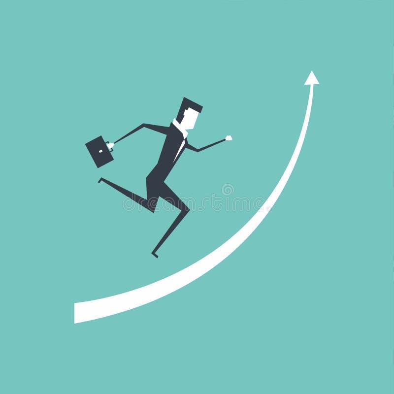 Businessman running up on raised arrow to reach success. stock illustration