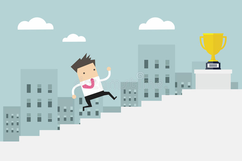 Businessman running up stairs, concept business man win price flat . stock illustration