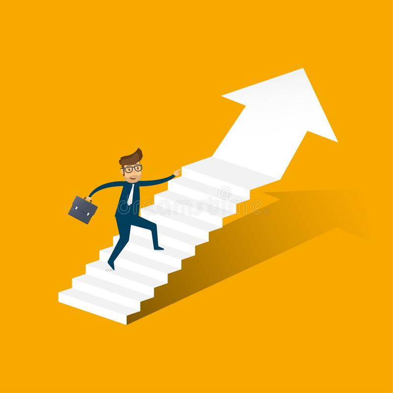 Businessman running up stairway to the top. Business concept growth and the path to success. illustrator vector stock photography