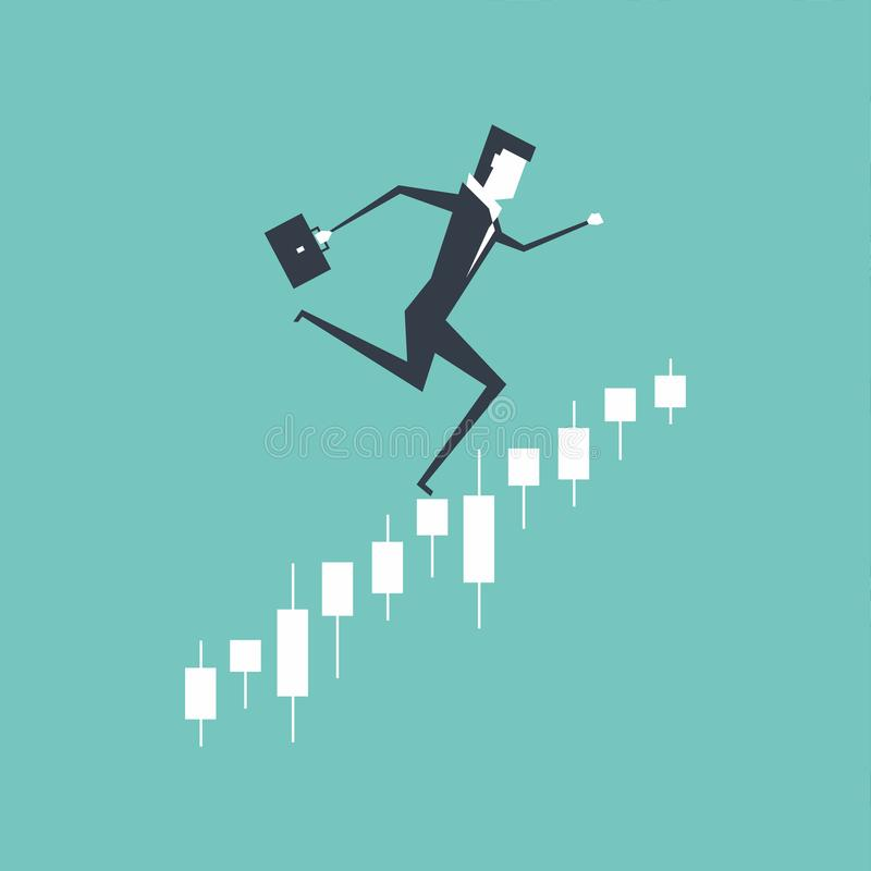 Businessman running upwards on a business graph, Jumping in the stock market. stock illustration