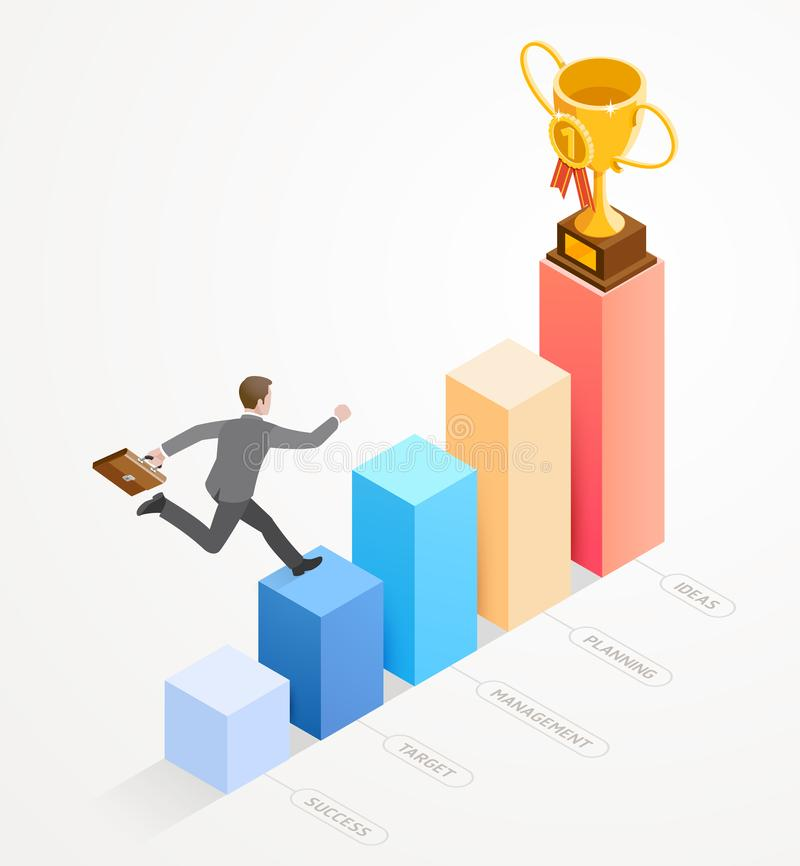 Businessman running with work bag on bar chart infographics. Business people isometric concept design. Businessman running with work bag on bar chart stock illustration