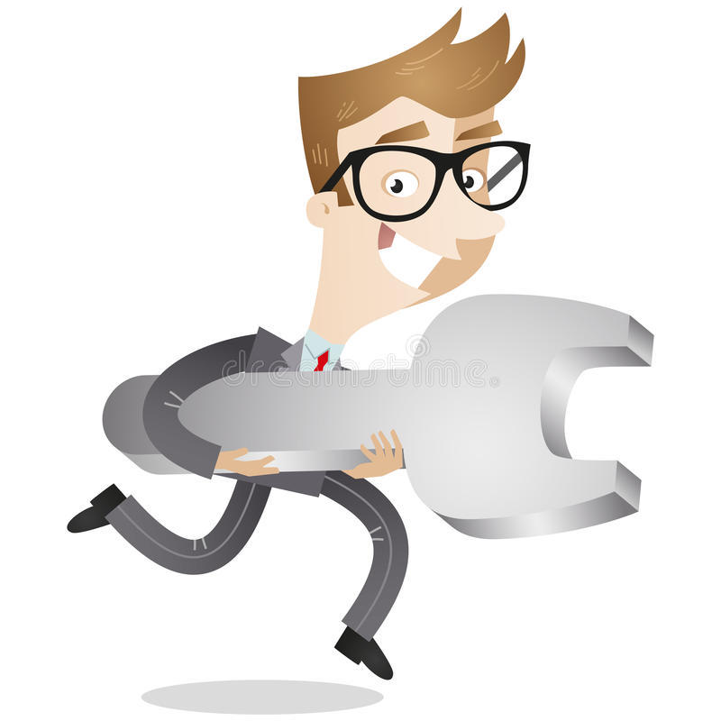 Businessman running with wrench royalty free illustration