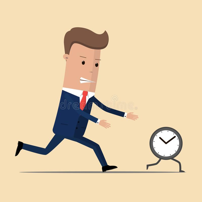 Businessman runs the clock. Man does not keep pace with times. Trying to catch up with missed opportunities. Vector illustration.  vector illustration
