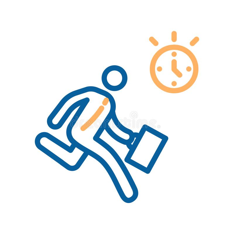 Businessman rushing to work with a clock icon. Vector illustration for concepts of business, projects, deadlines, time royalty free illustration