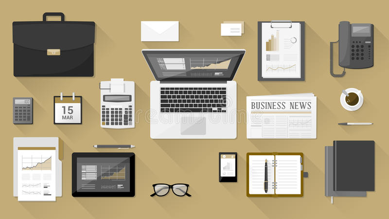 Businessman's desk. With laptop, tablet smartphone and stationery royalty free illustration