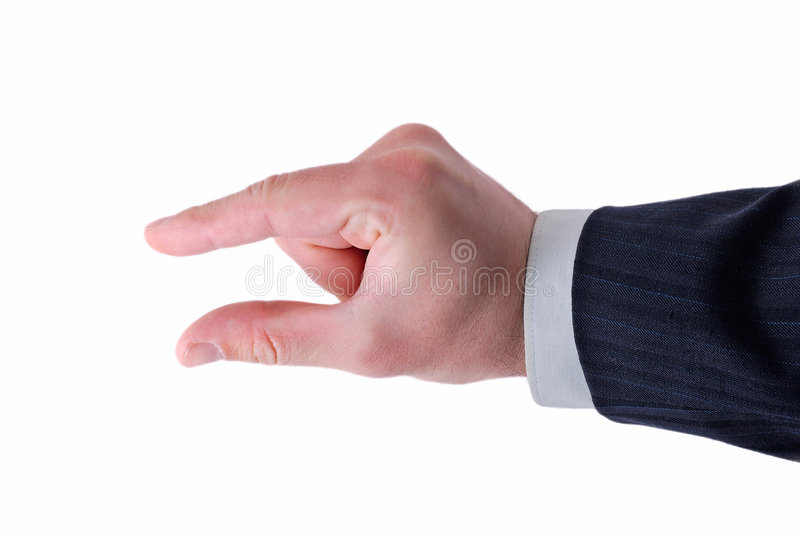 Download Businessman's Fingers Showing Size Stock Image - Image: 7195073