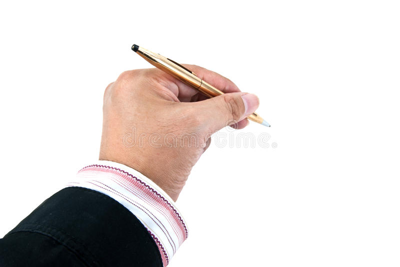 Businessman's hand holding a luxury pen. A businessman's hand holding a pen isolated on white royalty free stock image