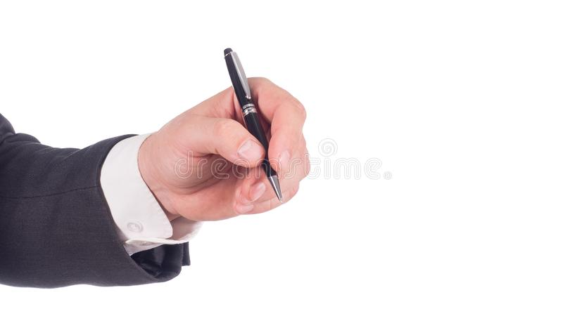 Businessman`s Hand Holding Pen. Isolated on white background.  stock photos