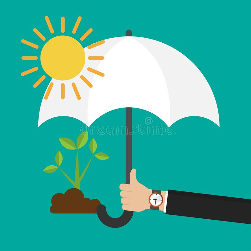 Businessman`s hand holding an umbrella for protecting seedling from the sun icon flat design royalty free illustration