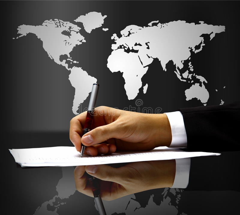 Businessman's hand with pen royalty free stock images