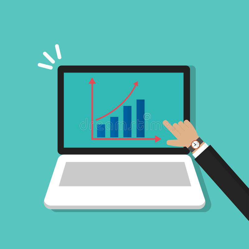 Businessman`s hand pointing at growing graph on laptop, computer symbol flat cartoon design vector illustration
