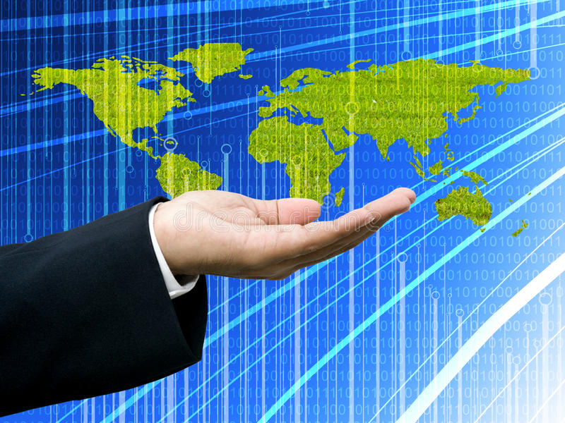 Businessman's hand with world map royalty free stock photo