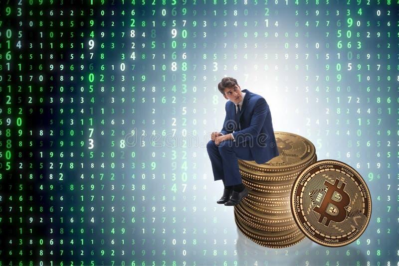The businessman sad about bitcoin price crash. Businessman sad about bitcoin price crash royalty free illustration