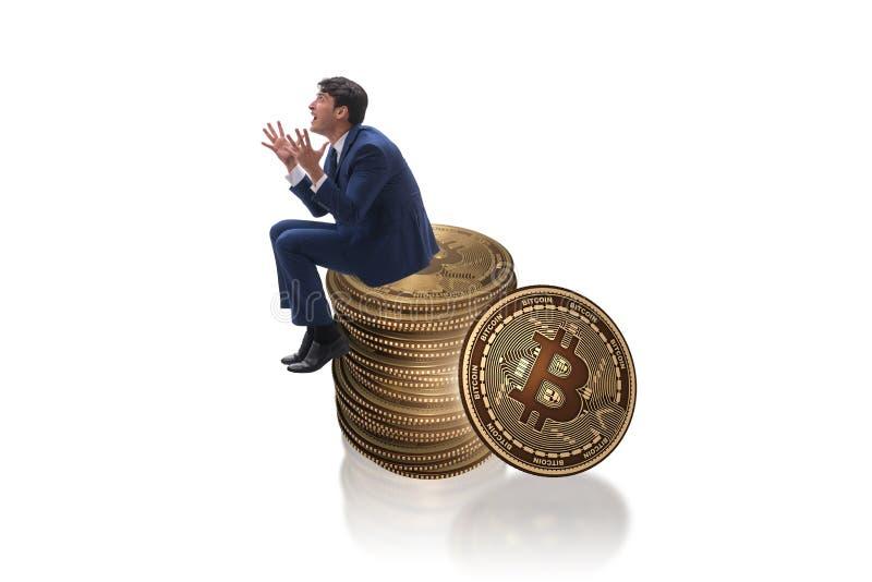 The businessman sad about bitcoin price crash stock images