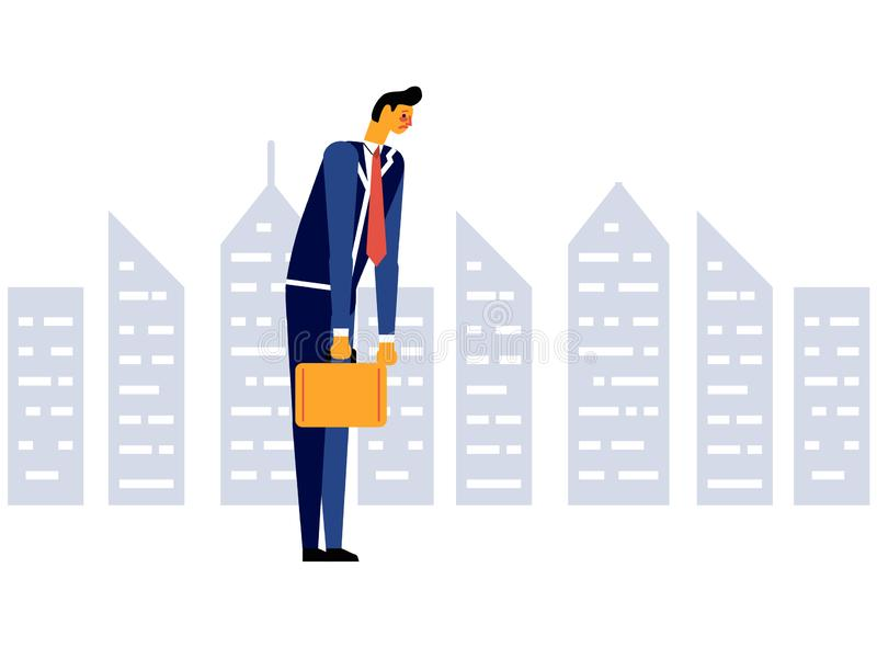Businessman sad tired disappointed office worker. Stress at work. Concept of failures in business. Vector illustration in a flat style royalty free illustration
