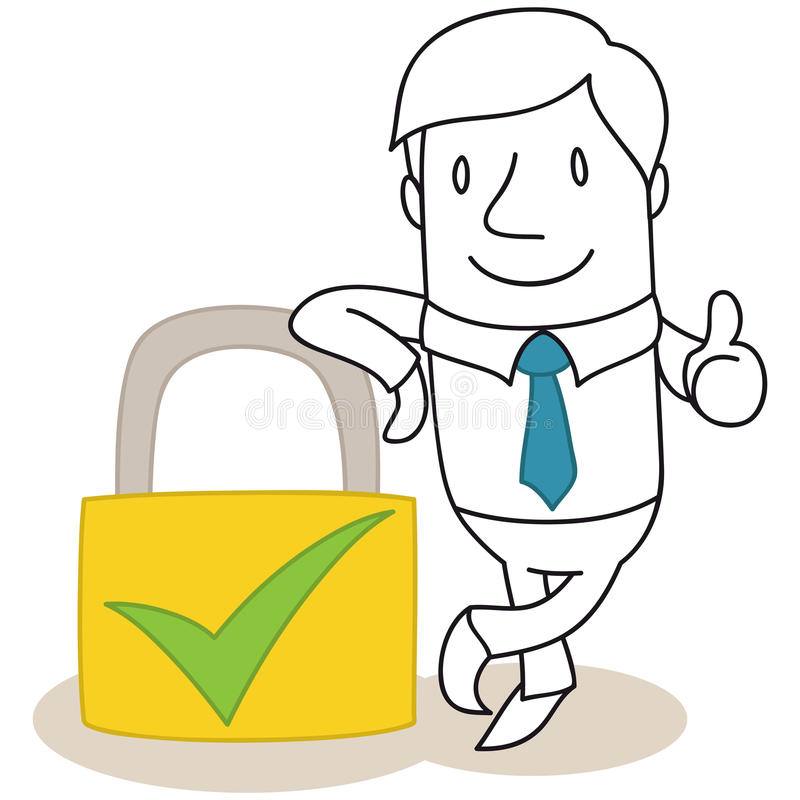 Download Businessman With Safety Lock Giving The Thumbs Up Stock Vector - Illustration of confident, thumbs: 38831452