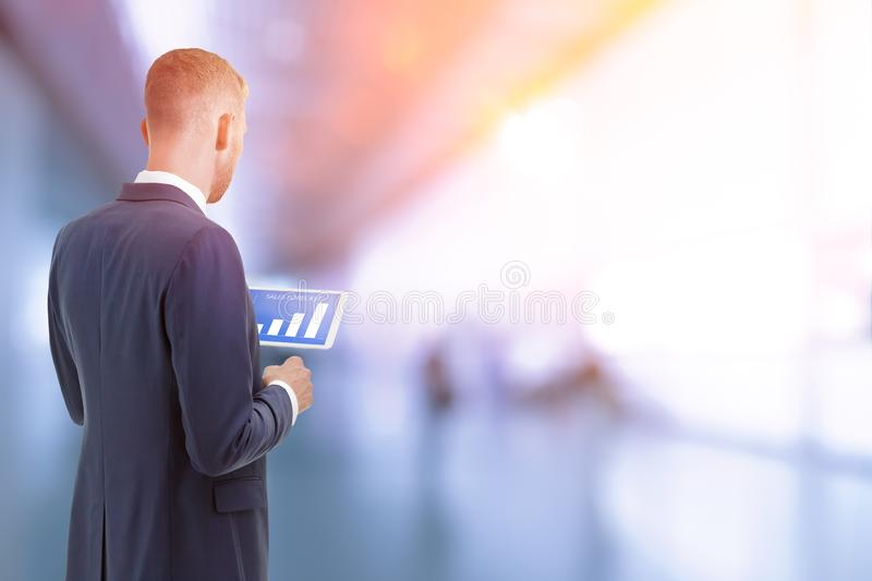 Businessman sales forecast diagram royalty free stock images