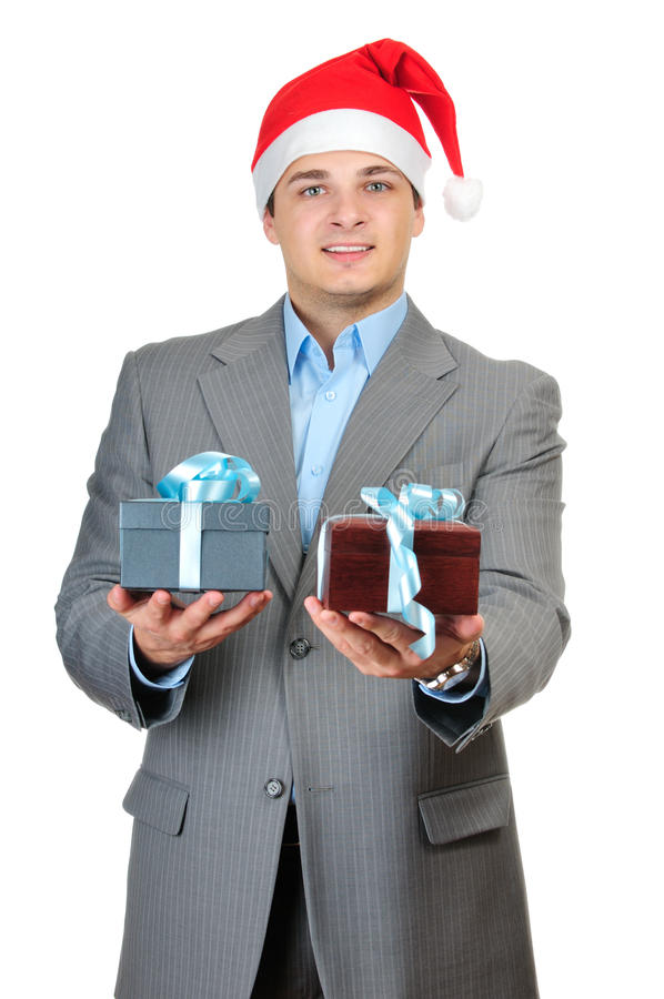 Businessman in Santa's hat stock photography