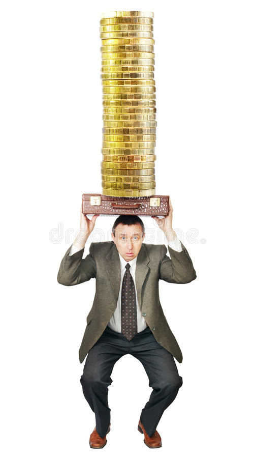 Businessman Sat Down Under Money Royalty Free Stock Photo