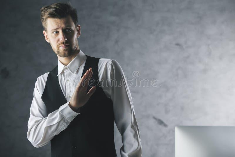 Businessman saying no stock photography