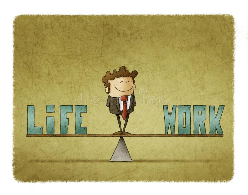 Businessman on a scale in which are the words work and life. Illustration of businessman on a scale in which are the words work and life stock illustration