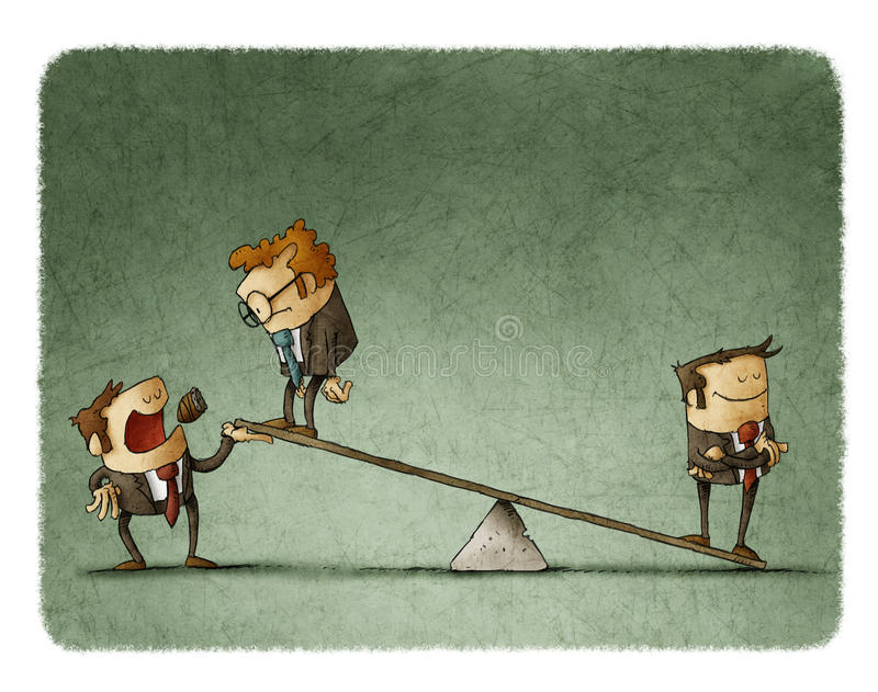 Businessman on scales outweighs other businessman. With boss help vector illustration
