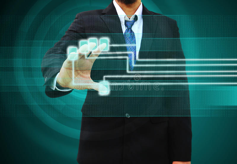 Businessman scanning finger on a touch screen interface. Businessman scanning of a finger on a touch screen interface royalty free stock photo