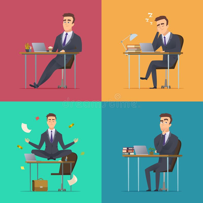 Businessman scenes. Office manager or director various poses sitting desk works sleeping meditates thinking wor routine stock illustration