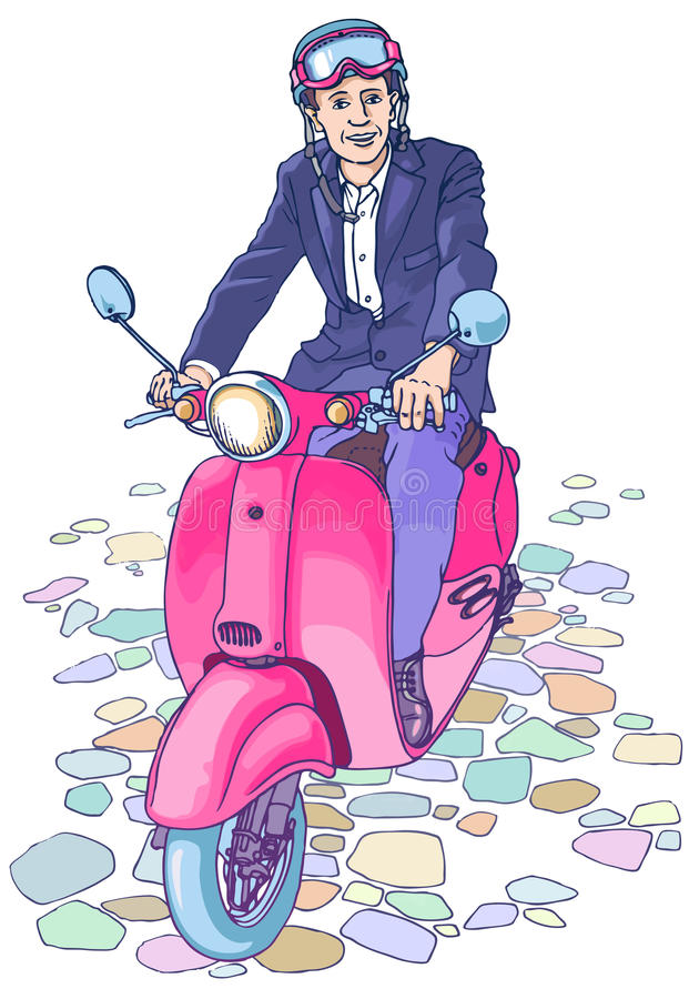Businessman on the scooter royalty free illustration