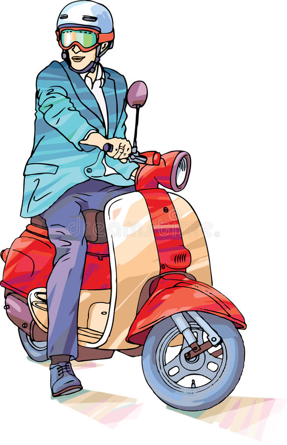 Businessman on the scooter vector illustration