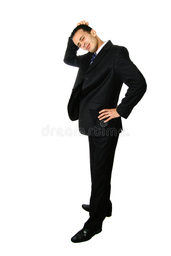 Businessman scratching his head, confused royalty free stock photos