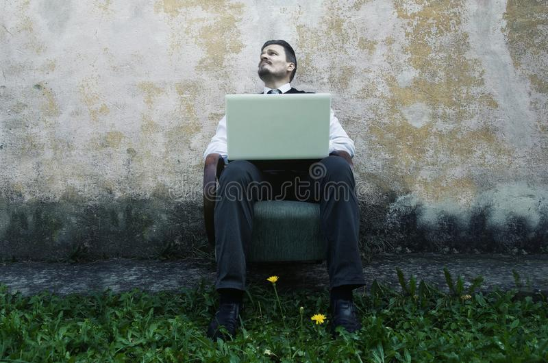 Businessman is Searching for New Creative Inspiration stock photos