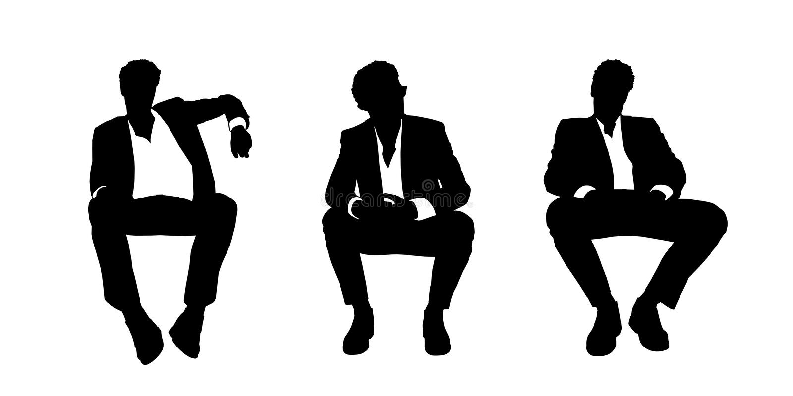 Businessman seated in the armchair silhouettes set 1 vector illustration