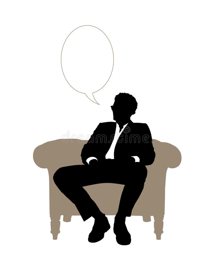 Businessman seated in beige classical armchair speaking vector illustration