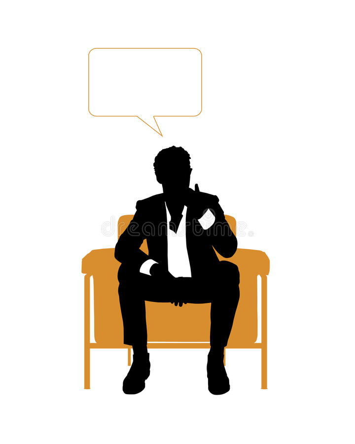 Businessman seated in orange armchair and thinking vector illustration