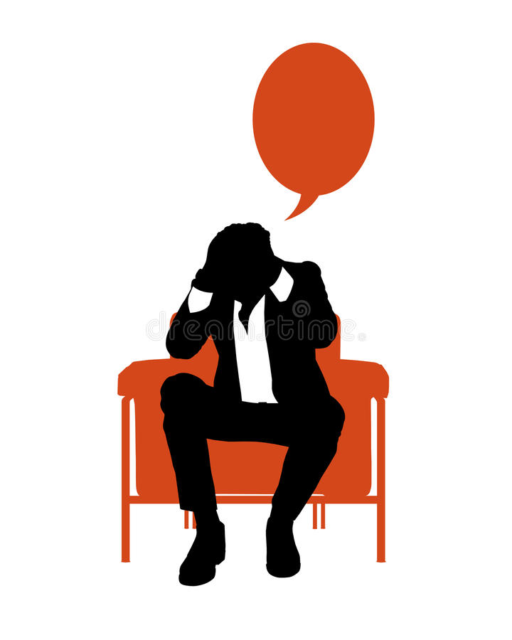 Businessman seated in red armchair very stressed royalty free illustration
