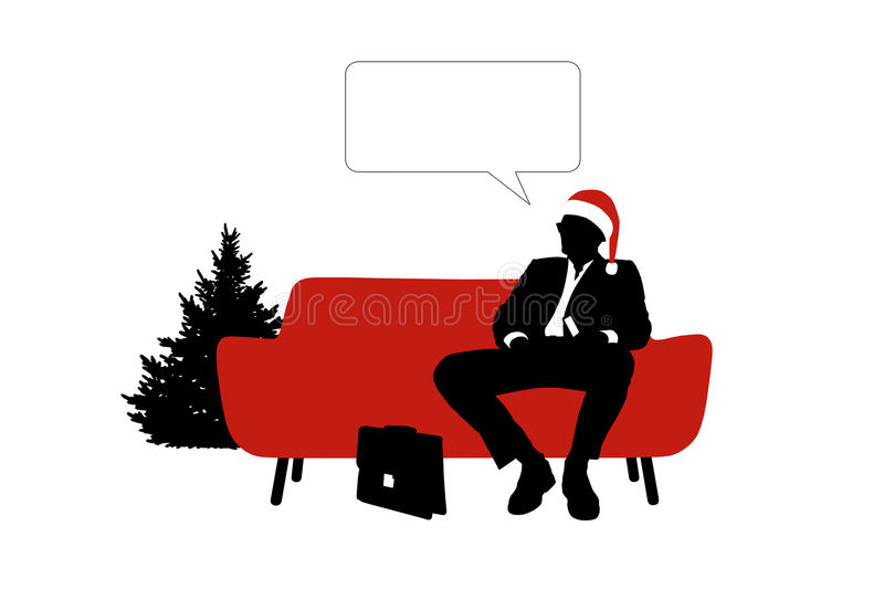 Businessman seated on red sofa in red christmas hat royalty free illustration