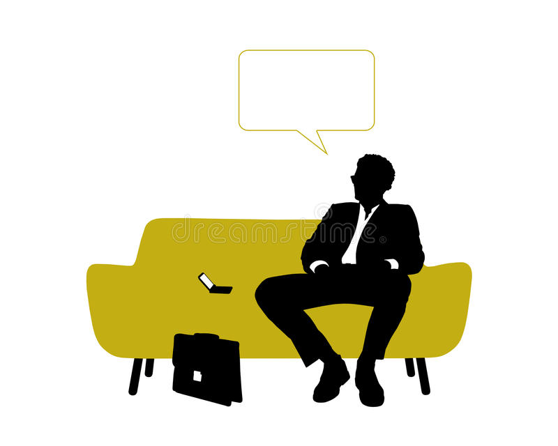 Businessman seated on yellow sofa having rest and thinking vector illustration