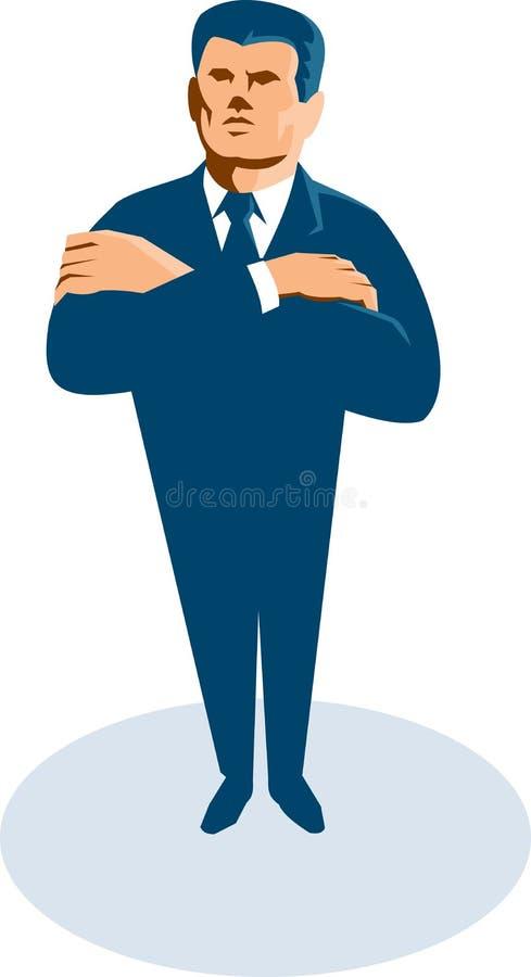 Businessman Secret Agent Arms Crossed Retro stock illustration