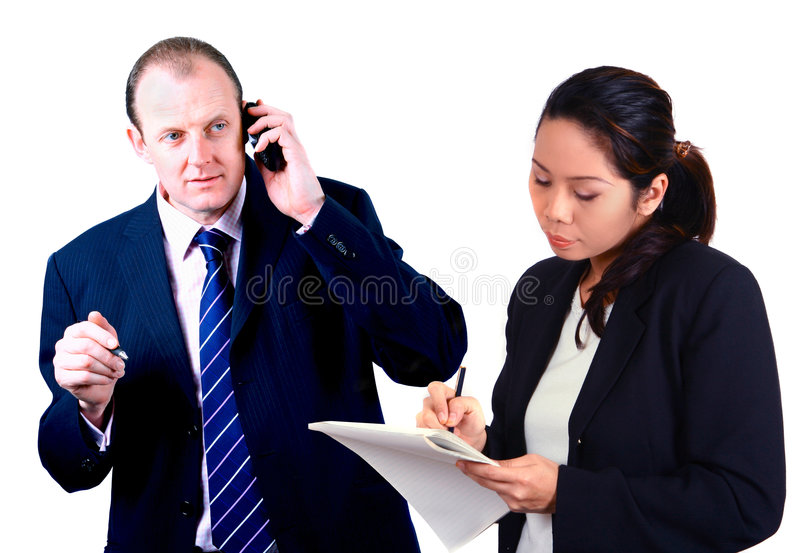 Businessman with secretary. royalty free stock photo