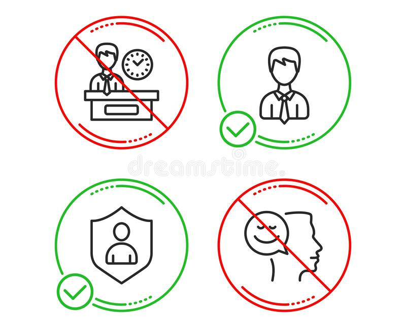 Businessman, Security and Presentation time icons set. Good mood sign. User data, Private protection, Report. Vector stock illustration