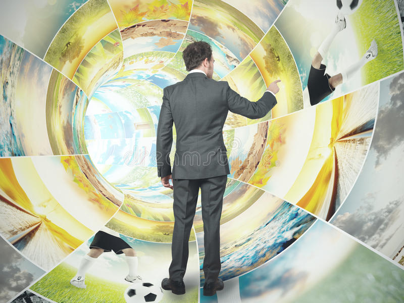 Download Businessman Select An Image Stock Photo - Image: 25466718