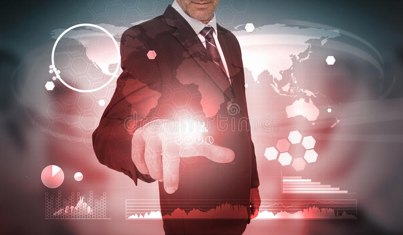 Businessman selecting futuristic interface of charts and data. On world map background stock illustration